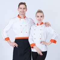 Top Quality Cook Suit Long sleeve Work Wear Stand Collar Double Breasted Hotel Chef Uniform Polyester Cotton Cook Jacket B 6524