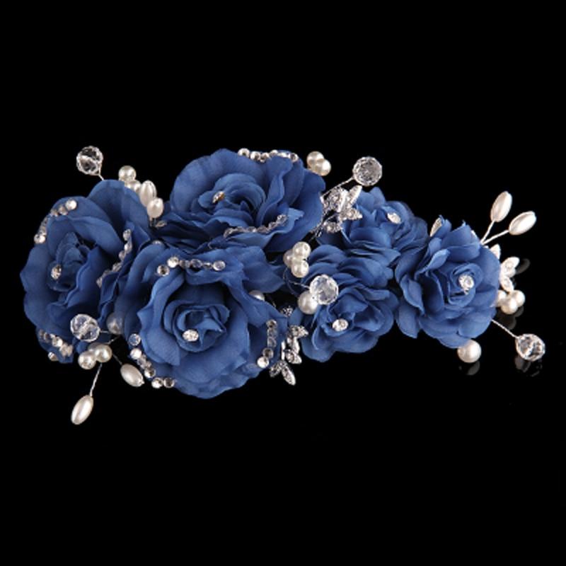 Clipe de flor azul bege rosa com strass requintado para casamento e - Bijuterias - Foto 6