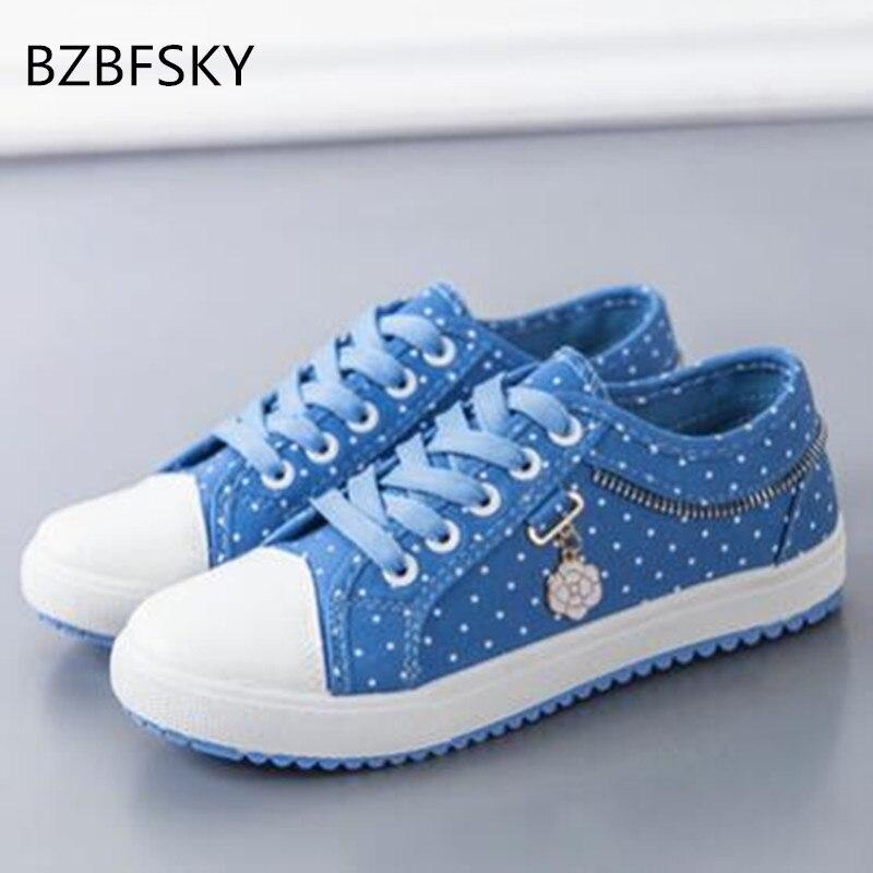 BZBFSKY 2017 women fashion canvas casual shoes lace up flat shoes
