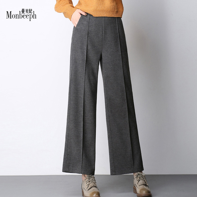 97c6dbd76f5aa autumn winter high waist big stretch waist thick wool wide leg pants  straight trousers loose casual for women Ankle-Length