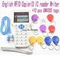 Inglés 10 frecuencia RFID Copier ID IC Lector Escritor M1 13.56 MHZ UID copia encriptada Duplicador Programador USB + 10 unids EM4305 etiquetas