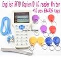 Inglês 10 freqüência RFID ID Copiadora Escritor Leitor IC cópia UID M1 13.56 MHZ encriptada Duplicador Programador USB + 10 pcs EM4305 tags