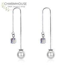 ФОТО silver sterling 925 drop earrings for women pearl & crystal earring statement jewelry ear line earrings pendientes mujer mode