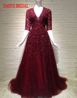Burgundy Long Lace Evening Dresses Party Beautiful Women Prom Formal Evening Gowns Dresses Wear Robe De