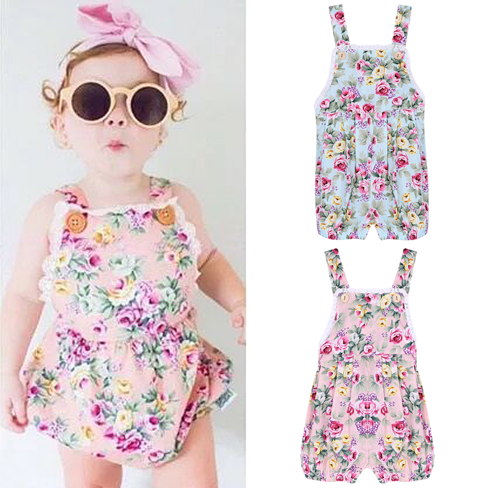 Summer Floral Baby Girls Jumpsuit Flower Printed Lace Braces Dress Bib Pants Cute Baby Overalls Infant Kids Outfits Clothes 1-4Y