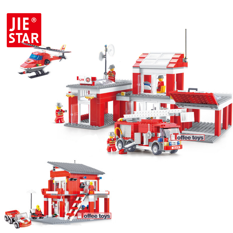 ФОТО JIE-STAR Fire Rescue Series Building Blocks Small Particles Model Building Blocks Toys for Children Boys Educational Toys 22023