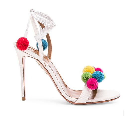 New fashion colorful Pom Pom ball Women Sandals Fashion top strap buckle high heel Gladiator Sandal large size 4pcs new for ball uff bes m18mg noc80b s04g