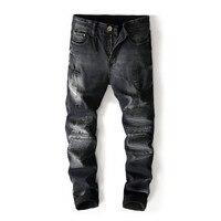 Newsosoo New Designer Men's Ripped Moto Denim Pants Black Distressed Biker Jeans Trousers For Man Fashion Design Size 29 38