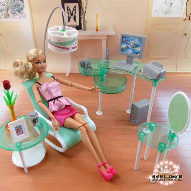 New Summer Computer Room Living Set For Barbie Doll Fashion Furniture Embled Toys Baby