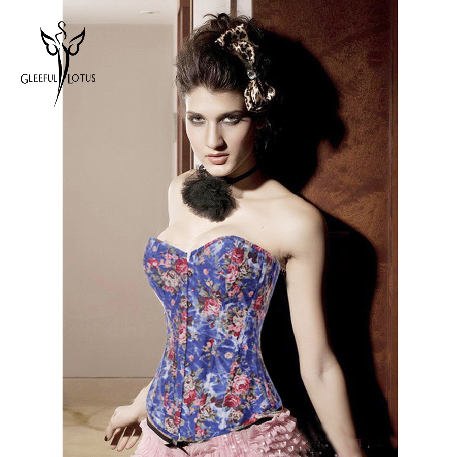 Gaine amincissante женское нижнее белье пятнистый корсет(overbust) соблазнительное женское бельё синего цвета 3312