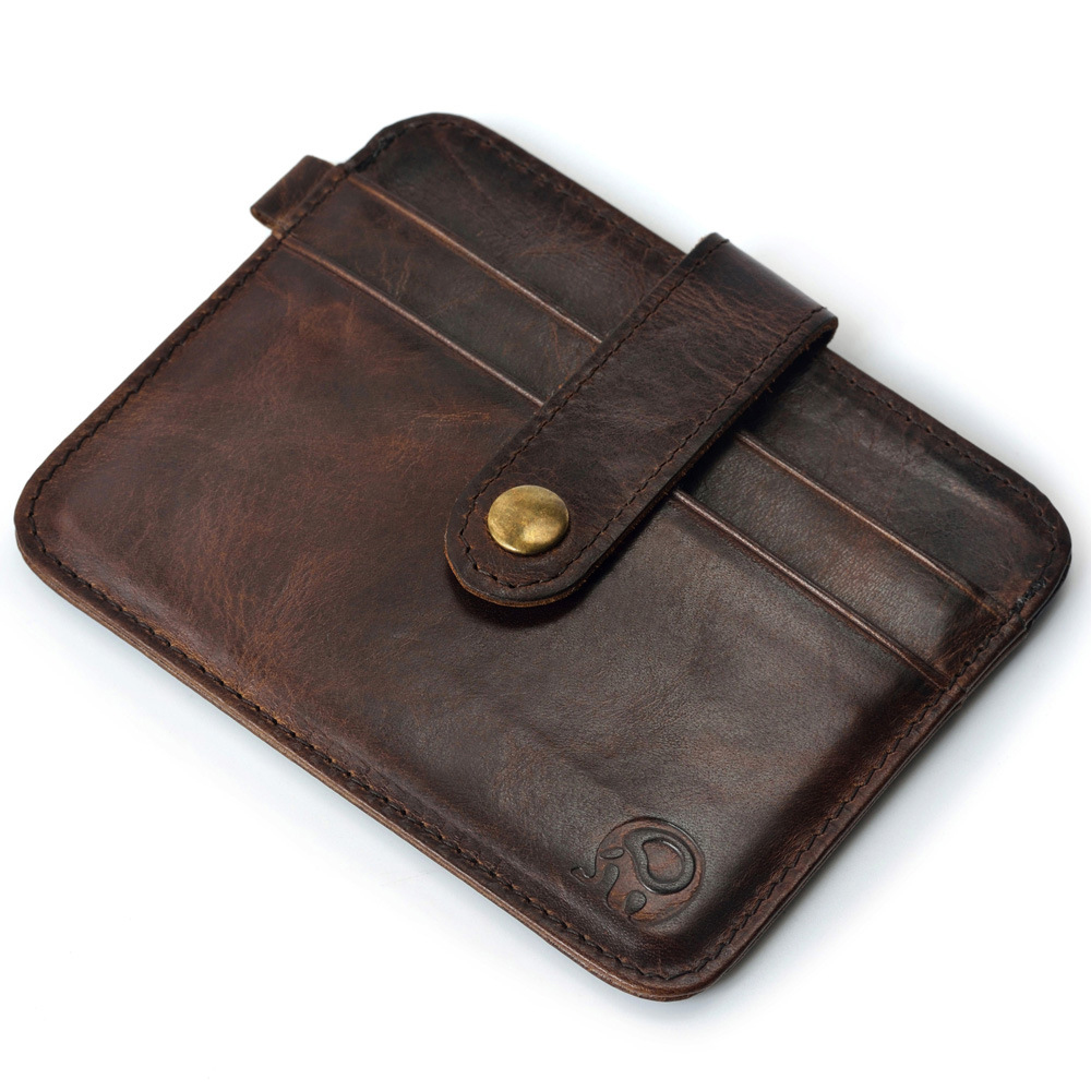 New Vinage Genuine Leather Credit Card&ID Card Holder Wallet Business Bank Card Bag Case Coin Purse Unisex Men&Women app blog women men credit id card holder case extendable business bank cards bag small wallet coin purse carteira mujer male