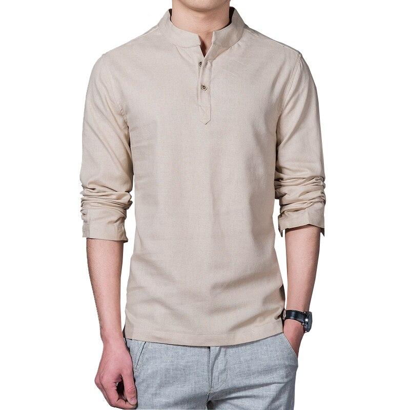 Linen long sleeve casual mens shirts  1