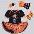 Bebé Infantil 4 unids Ropa Floral Princesa Vestido Jumpersuit Mameluco Diadema Zapatos calcetín Bebe Trajes De Fiesta De Cumpleaños