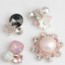 Pearl Crystal Rhinestone Buttons Flatback Embellishment for Craft DIY Hair  Bow Wedding Shoes Metal Decorative Buttons 29be8ae6f872