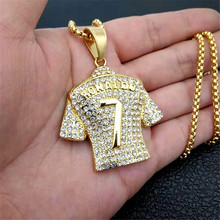 Mens Necklace Football 7 Pendant With Stainless Steel Chain and Iced Out Bling Rhinestones Necklace Hip Hop Sports Jewelry