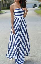 New Summer Women Dress 2016 Europe And America Strapless Striped Empire Dress Bohemian Long Vestidos Plus Size