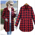 Spring Autumn Women Cotton Plaid Long Shirts Girl Long Sleeve Causal Tops Blouses Size L-5XL