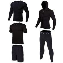 Men Running Suits Clothes Sports Set Compression Shirt Pants Jackets Shorts 4pcs/Sets