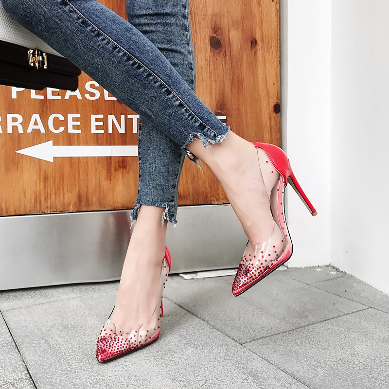 Simples Sens À Bouche Hauts Femelle 2018 Transparent Automne Profonde Stiletto Strass Pointu Chaussures Nouveau rouge Beige Talons noir Et Printemps Peu v4zFZ
