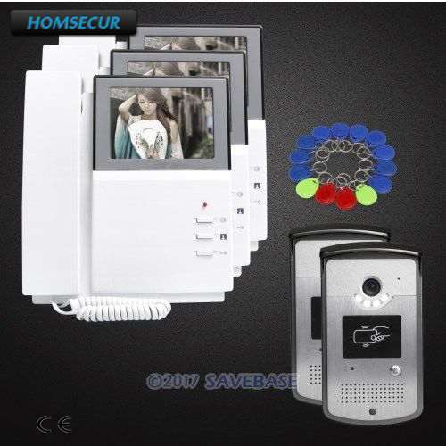 HOMSECUR 2V3 Color 4.3inch Wired Video Door Entry Phone Call System with One Button Unlock for Home Security