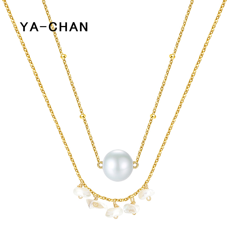 YA-CHAN Fine Jewelry Real 925 Sterling Silver Freshwater Pearl Necklace&Pendant for Women 2 Layered 18 K Gold Sweater Necklace stylish chic faux pearl layered necklace for women