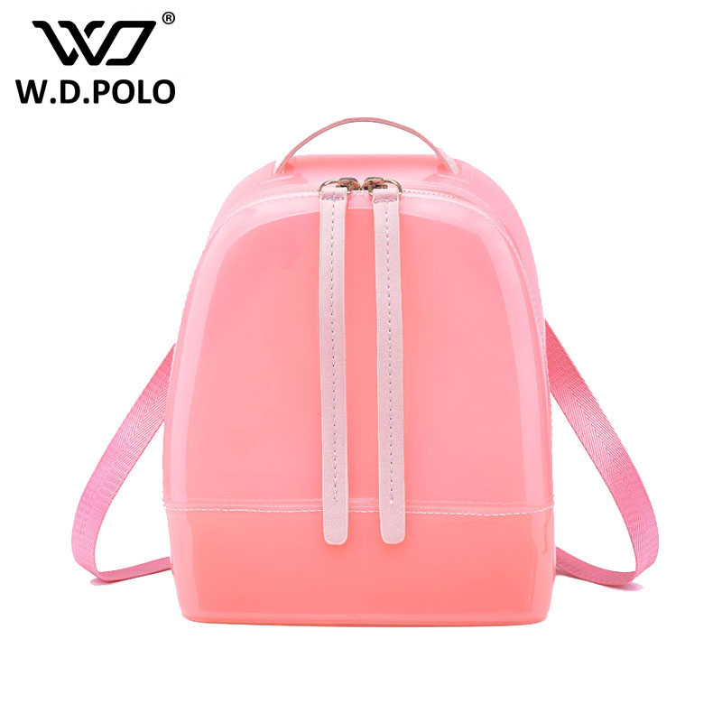WDPOLO New Silicon shinning leather women backpack sling lady chic essentials hand bags summer jelly candy