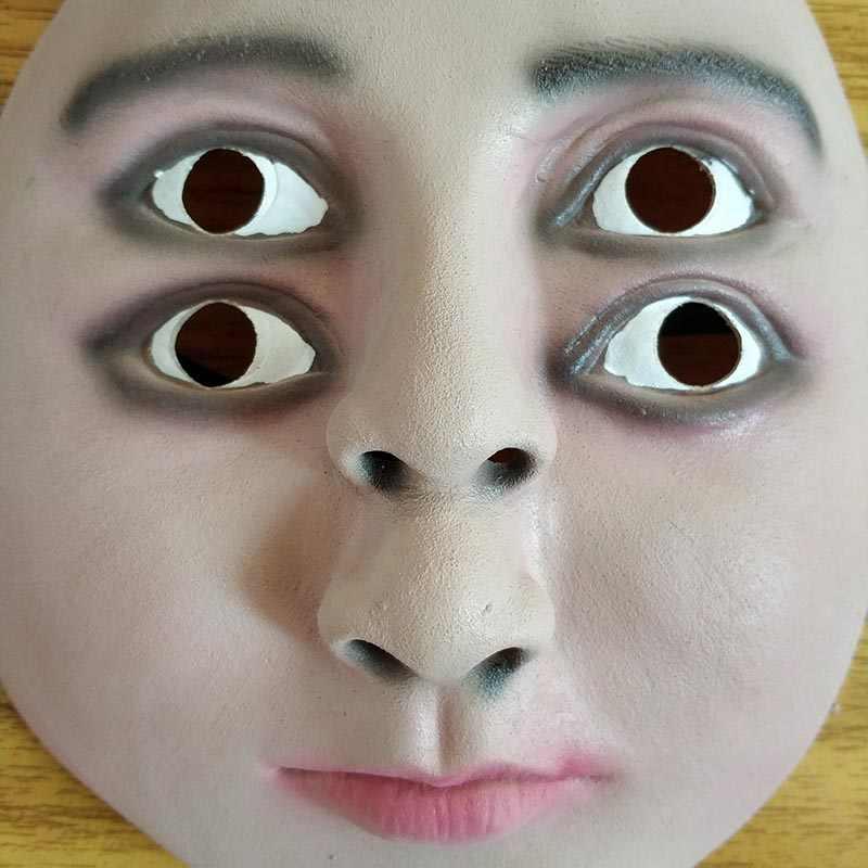 Забавные латексная маска для хеллоуина террор ореолы красавец вечерние Косплэй детали костюма человеческое лицо двойной глаза Дети Детские маски