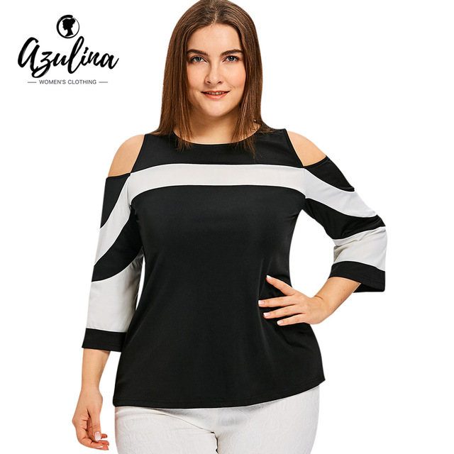 c316810c184257 AZULINA Plus Size Color Block Cold Shoulder T-shirt Women Tops Summer Casual  Shirt Tees Ladies Tops Big Size Women's Clothing