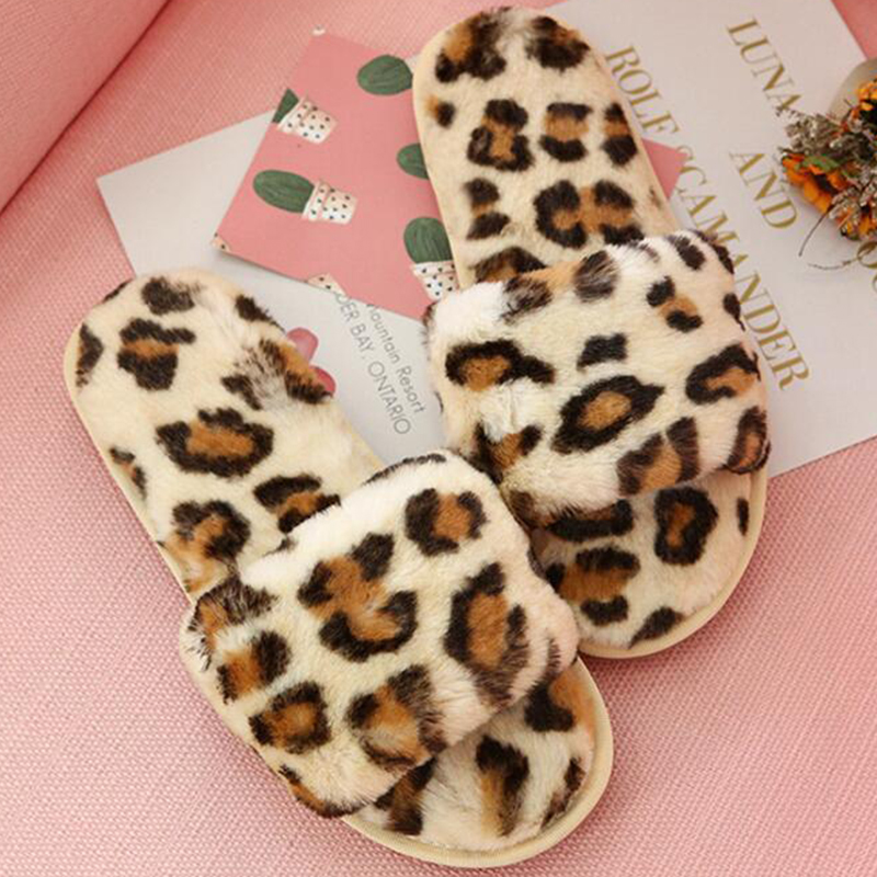 Parent-child Leopard Print Fur Plush Indoor Slippers Girl  Boy Home Cotton Bedroom Shoes Winter Warm Soft Flip Flop s129