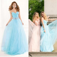2015 Attractive A line Sweetheart Long Tulle Prom Gown With Sash Free Shipping font b Evening