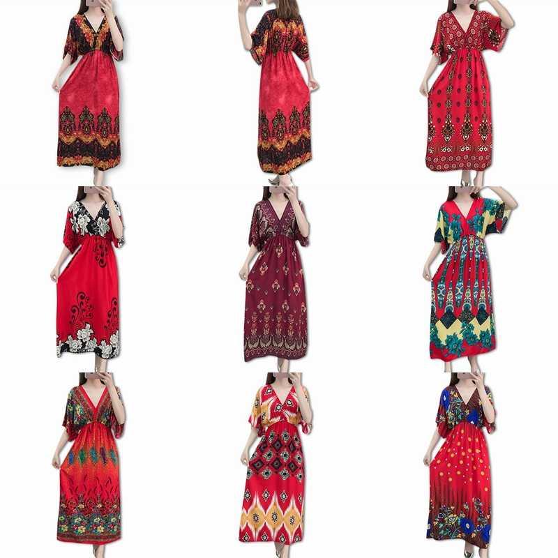 Женское платье 2019 Лето Винтажное с коротким рукавом повседневное длинное бохо платье v-образный вырез цветочный принт платье Элегантное шифоновое платье для вечеринок