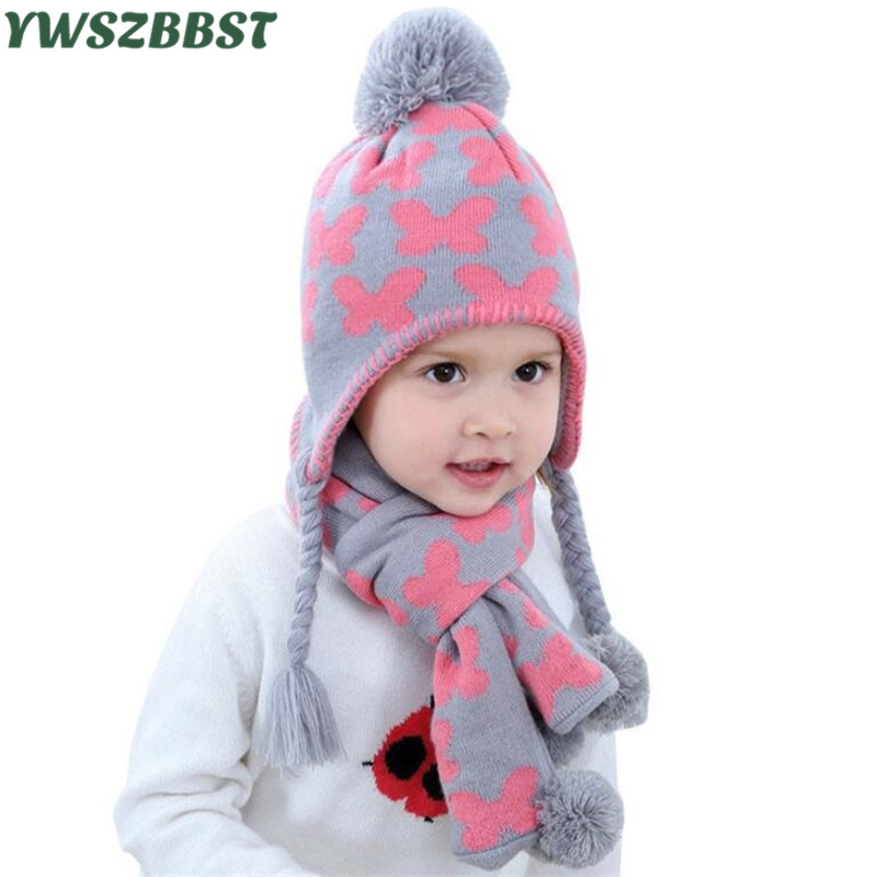 Fashion Butterfly Baby Hat with Scarf Kids Girl cap Baby Caps and Hat set Knit Autumn Winter Baby Hat set fit 6 Months to 6 Age cntang summer embroidery letter w baseball cap fashion cotton snapback for men women trucker hat unisex casual caps gorras