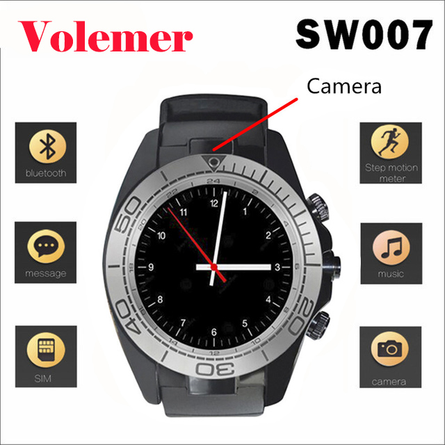 Volemer SW007 Bluetooth Smart <font><b>Watch</b></font> with Camera <font><b>Pedometer</b></font> Wearable Devices <font><b>Support</b></font> <font><b>SIM</b></font> TF card Men Smartwatch for IOS Android