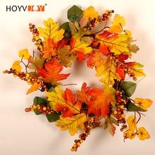 HOYVJOY Maple Leaf Artifical Wreath Christmas Halloween Decoration For Wall Decor Hand On The House Kawai Garland 40cm Diameter