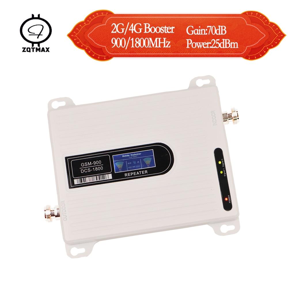 Amplificateur de signal ZQTMAX 2g 4g lte gsm 900 dcs 1800 amplificateur de signal cellulaire répéteur de signal mobile amplificateur gsm 900 1800 double bande