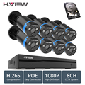H. VIEW 8ch 1080 p CCTV Camera System PoE H.265 CCTV Camera Systeem 2mp Surveillance Kit PoE 48 V Surveillance Kit full HD