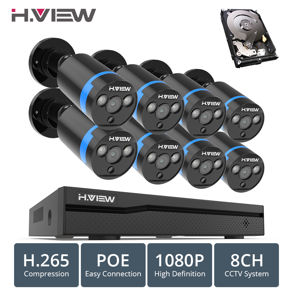 H. VIEW 8ch 1080 p système de caméra de vidéosurveillance PoE H.265 système de caméra de vidéosurveillance Kit de Surveillance 2mp Kit de Surveillance PoE 48 V Full HD