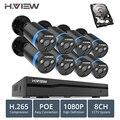 H ver 8ch 1080 p CCTV sistema de cámara PoE H.265 sistema de cámara CCTV 2mp Kit de vigilancia de PoE 48 V Kit DE VIGILANCIA DE full HD