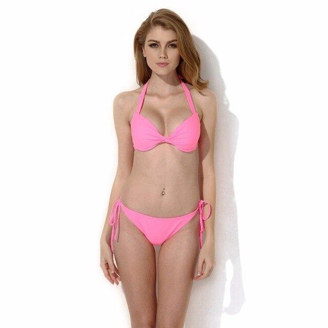 Sexemara 2017 Sexy Women Padded Add 2 Cups Bikini Set Pink -4598