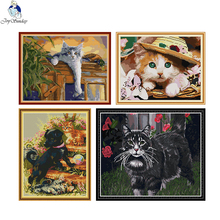 Cross-Stitch-Kit Embroidery Counted-Printed Thread Canvas Aida-Fabric Needlework Black