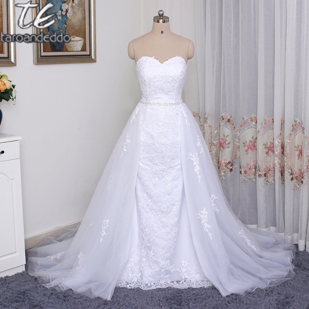Tulle Sweetheart Neckline 2 in 1 Wedding Dresses with Beaded Sash Lace Appliques Bridal Dress with Detachable Skirt