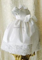 Elegant New Baby Infant Blings Pearls Christening Gown Short Sleeves Lace Applique White/Ivory Baptism Dress Gown with Bonnet
