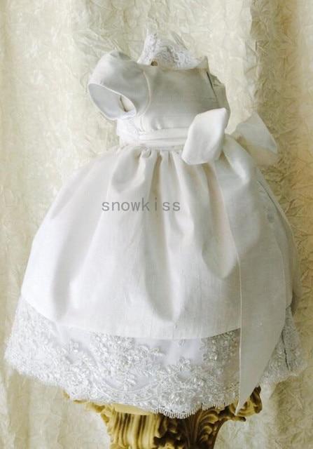 Elegante New Baby Infant Blings Perlas Bautizo Vestido de Manga Corta de Encaje Apliques Blanco/Marfil Vestido de Bautismo Vestido con el Capo