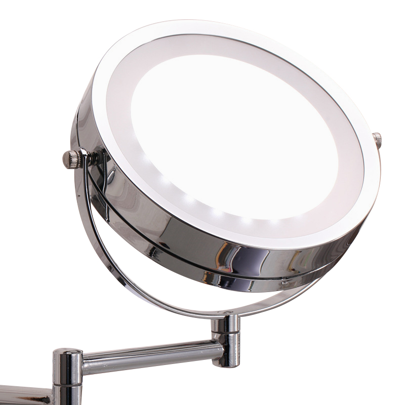 LED Bathroom Mirror Dual Arm Extend 2 Face Makeup Mirror Equipped Metal Round Wall Mirror