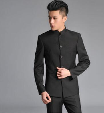 Chinese style slim fit blazer men chinese tunic suit jacket male new design suits man fashion blazers grey black stand collar тепловая завеса ballu bhc l10 s06 m