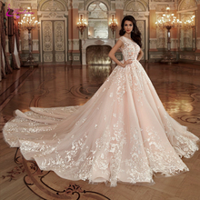 Waulizane Scoop Neckline Of Nude Color A Line Wedding Dress With Elagant Appliques And Lace Of Chapel Train