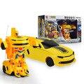 Crianças robô deformação carro de Carregamento de controle Remoto 4Ch rc carro transformação Bumblebee uma modificação chave brinquedos do menino