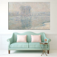 Big Size Print Claude Monet Ice Floes Misty Impressionist Landscape Oil Painting On Canvas Poster Wall