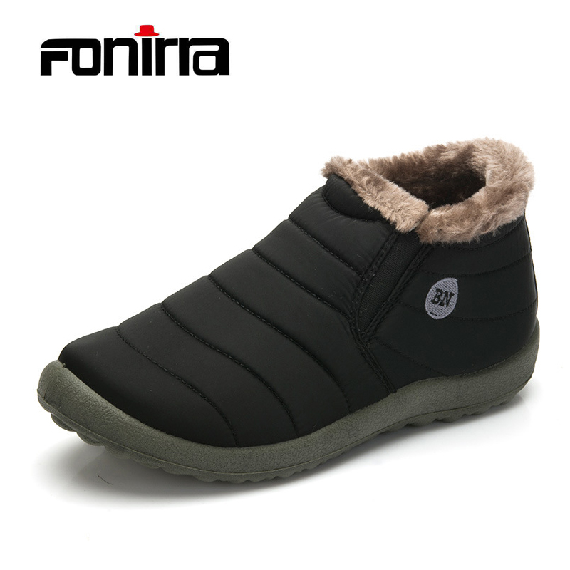 FONIRRA Men Winter Shoes Solid Color Snow Boots Keep Warm Waterproof Ski Boots Slip-on Ankle Boots for Male Plus Size 35-48 261 2018 new warm solid anti slip snow boots