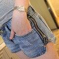 Lado zipper desfiado washed blue lady cintura baixa shorts jeans